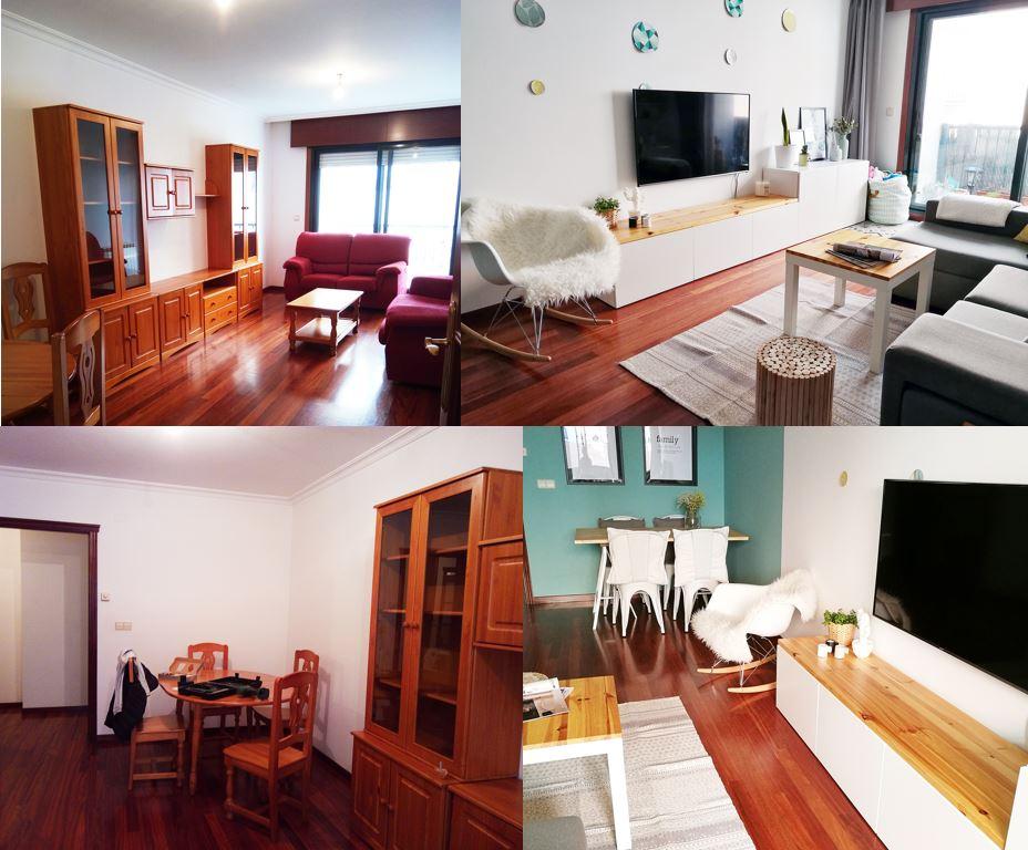 Home staging, antes y después de un salón nórdico en un piso de alquiler