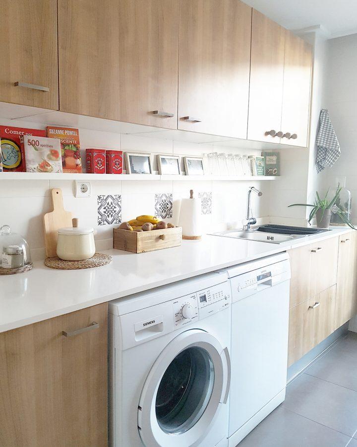 Cocina blanca y de madera house tour