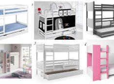Literas para habitaciones compartidas (Blanco y de madera)