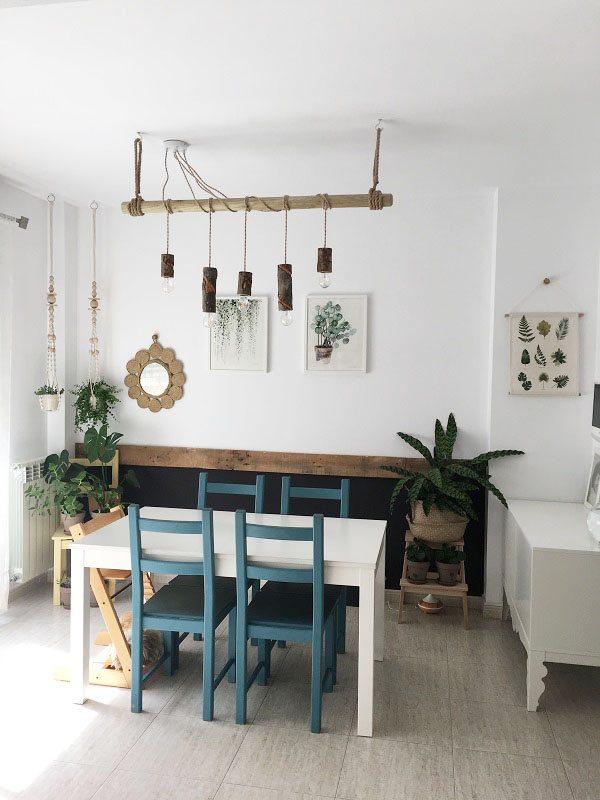 House tour comedor con lampara de madera