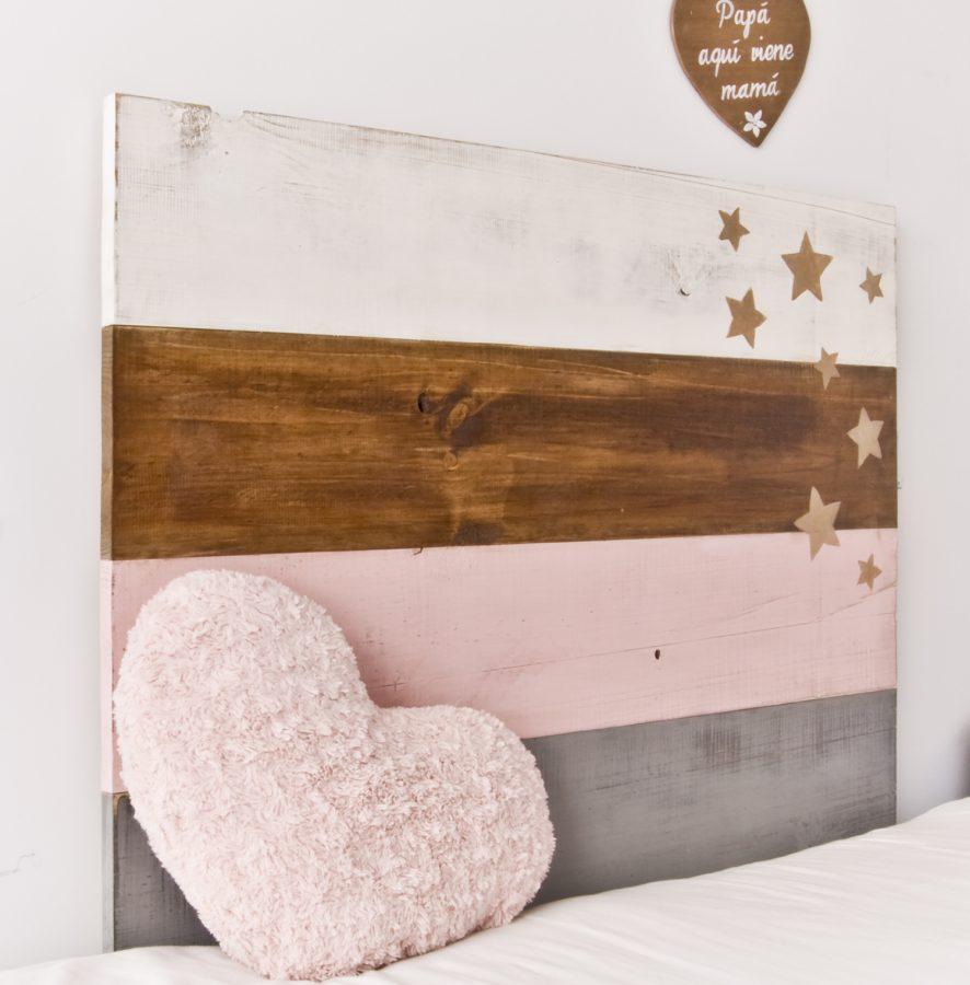 Cabecero stars blanco y de madera - Cabeceros rusticos de madera ...