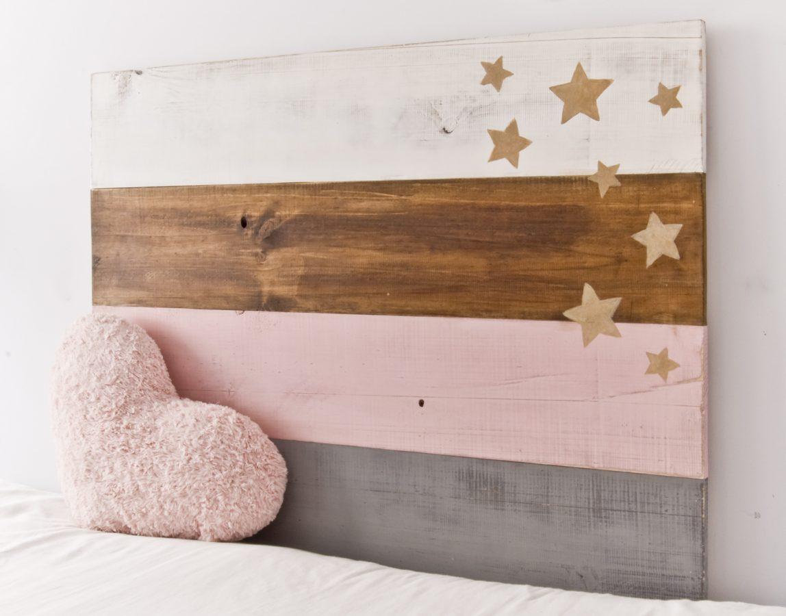 Cabecero stars blanco y de madera - Cabeceros de madera blanco ...