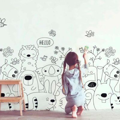 Mural autoadhesivo animales