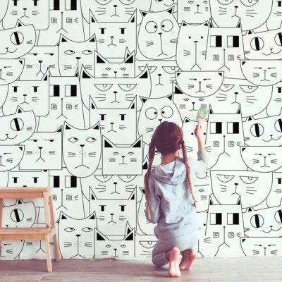 mural_infantil_gatos